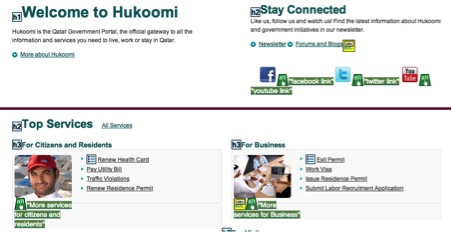 Accessibility of Hukoomi demonstrated through good markup and use of alternative text